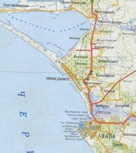 Анапа карта 266x300 Курорты Черного моря   Анапа