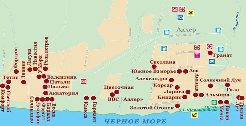 карта Адлер Адлер курортный городок