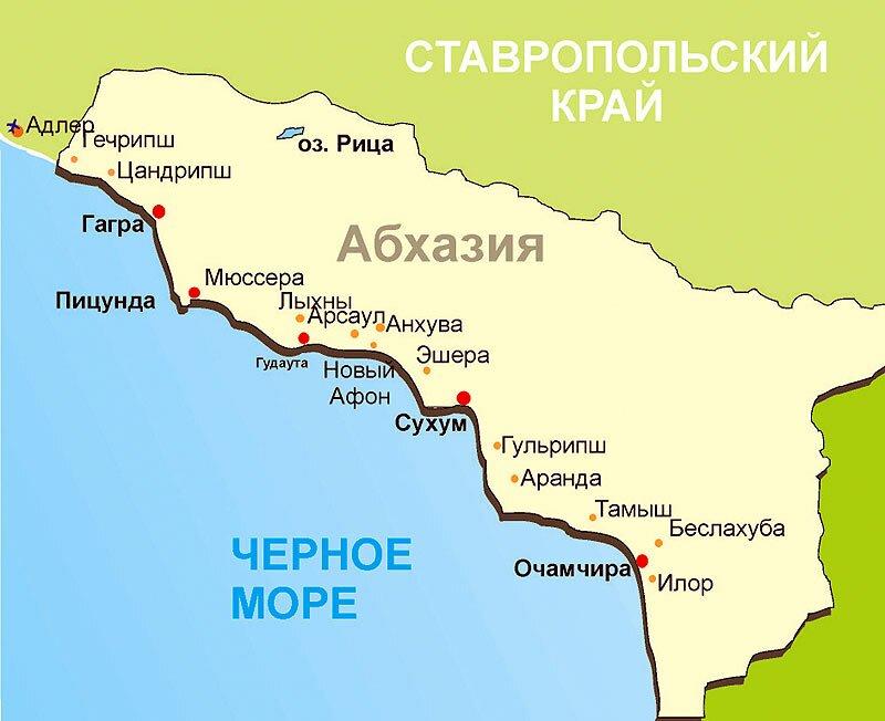 карта Абхазии Знакомство с Абхазией